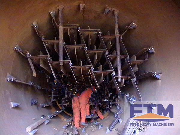 workers are working in rotary drum dryer machine
